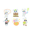 Adorable bunny cartoon character set cheerful