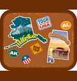 alaska alabama travel stickers vector image vector image