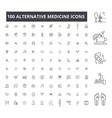 alternative medicine editable line icons 100 vector image vector image