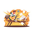 angry and exasperated worker crushed workplace vector image vector image