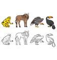 aninals set vulture toucan frog gnu vector image vector image
