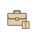 bag briefcase business portfolio warning work vector image vector image