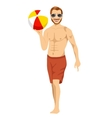 beach dude holding an inflatable striped ball vector image vector image