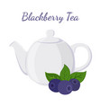 blackberry tea in teapot with berries vector image vector image