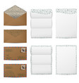 brown paper envelopes and blank white letter paper vector image vector image
