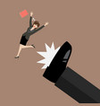 business woman kicked by her boss big foot vector image vector image