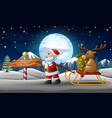 cartoon funny santa claus pulling a sleigh with a vector image vector image