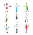 cartoon professional cooking character people set vector image