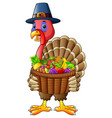 cartoon turkey holding basket full of fruits and v vector image vector image