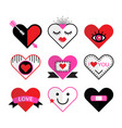 ccute pink and red heart and love icon emblems set vector image vector image
