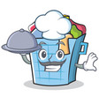 chef laundry basket character cartoon vector image vector image