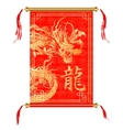 Chinese dragon on a red scroll vector image