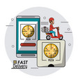 circular frame background with fast delivery man vector image vector image