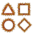 Colorful squared circle and triangle frames with vector image