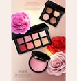 cosmetics set realistic eye shadow lip vector image vector image
