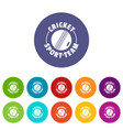 cricket sport icons set color vector image vector image