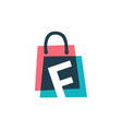 f letter shop store shopping bag overlapping vector image