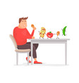 fat man eating a big chicken leg in flat style vector image