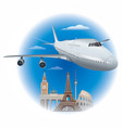 flying passenger airplane vector image vector image