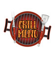 Grill menu card design template vector image