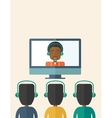 Group of employees with black guy in online vector image