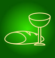 icon of a glass of wine and bread vector image vector image