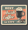 irish coffee retro glass cup and foam vector image