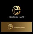 letter e gold company logo vector image