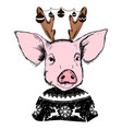 merry christmas 2019 year pig greeting card vector image vector image
