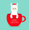 merry christmas alpaca llama sitting in red vector image vector image