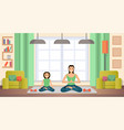mother and daughter practicing yoga flat vector image