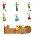 oktoberfest beer festival scenes with people in vector image vector image