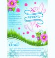 poster for april spring holidays vector image vector image