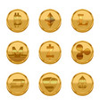 realistic detailed 3d golden cryptocurrency icons vector image vector image