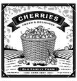 retro cherry harvest label with landscape black vector image vector image