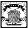 retro cherry harvest label with landscape black vector image vector image