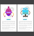 robot collection of posters vector image vector image
