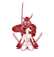 samurai warriors with swords action cartoon vector image vector image