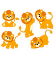 set cute cartoon lions vector image vector image