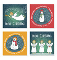 set of christmas cards with angels and snowmen vector image