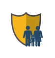 shield and family pictogram icon vector image vector image