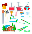 skiing icons set skiing accessories skis vector image vector image