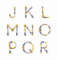 technical robot font letters from j to r vector image vector image