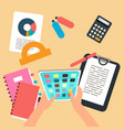top view studying or working flat vector image