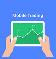 trading charts in mobile tablet vector image vector image