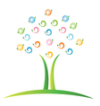 Tree with swirly leafs logo vector image vector image