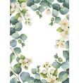 watercolor green floral card vector image vector image