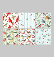 winter birds seamless patterns set cold vector image