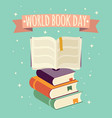 world book day open book with festive banner vector image vector image