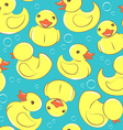 Yellow rubber duck and bubbles seamless kids vector image vector image